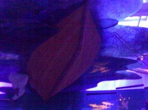 छतावरची बोट आणि त्यातून उतरणारा पाणबूडा